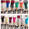 New Women Ladies Candy Color Stretch Leggings 3/4 Length Cropped Pants Trousers