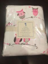 Pottery Barn Brooke Haley Owl Bird Quilt Duvet Flannel Sheets Bedding Set TW GUC