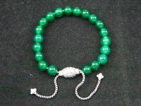 David Yurman Sterling Spiritual 8mm Green Onyx Bead Bracelet Adjustable