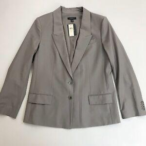 ANN TAYLOR Career Blazer SZ 12 NWT $228 Virgin Wool Blend 2 Button Chic Taupe