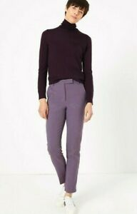 NEW LADIES SIZE 24 LONG SLIM ANKLE GRAZER TROUSERS MARKS & SPENCER THE MIA PURPL