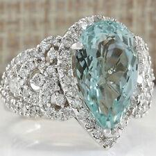Unisex 925 Sterling Silver Waterdrop Sapphire Morganite Crystal Rings Jewellery