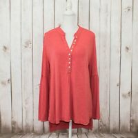 Soft Surroundings Women's Bell Sleeve Tunic Henley Blouse Coral Size Large