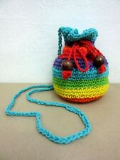 NE 02 KNIT CROCHET RAINBOW S SHOULDER BAG HANDICRAFT SLING WEAVE HOBO CROSSBODY