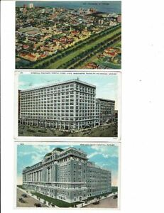 3 Card Lot, Chicago, Illinois, University Aerial, Hospital, Marshall Field Store