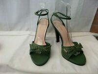 """RIVER ISLAND UK 5 / 38 Green leather ankle strap shoes 4"""" slim heels excellent"""