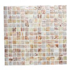 Fliesen Mosaik Mosaikfliese Bad Küche Boden Quadrat Glas hellbeige 4mm Neu #176