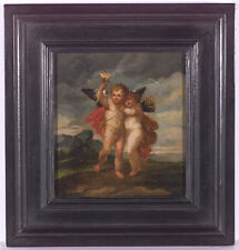 "Januarius Zick (1730-1797)-Attrib. ""Two Puttos"", Oil Painting, 2nd H. of 18th c."