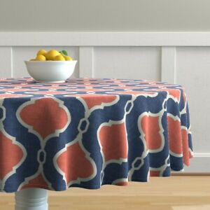 Round Tablecloth Modern Quatrefoil Navy And Coral Blue Geometric Cotton Sateen