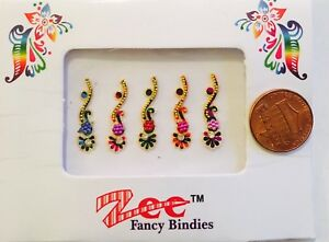 1 Pack Fancy Long Crystal Gold Multicolored Temporary Forehead Tattoo Bindi