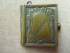 ANTIQUE MINIATURE GILT METAL PICTURE BOOK HOLDER WITH MINI SWEDISH PICTURES
