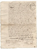 1753 Louix XV royal notary autograph letter with official lily flower stamp sign