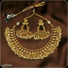Bollywood Ethnic Indian Gold Plated Kemp Pearl Imitation Choker and Earrings Set