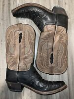 Lucchese 1883 Alyssa $795 Retail Women's HB Caiman Black & Brown Stitch 8.5B EUC