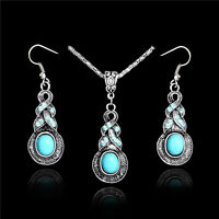 Vintage Elegant Women Retro Turquoise Silver Hook Earrings Necklace Jewelry Set