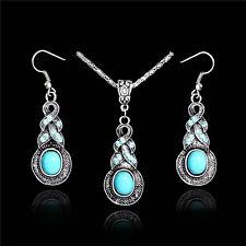 Vintage Elegant Charm Retro Turquoise Silver Hook Earrings+Necklace Jewelry Set