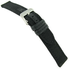 22mm Hadley Roma Black Leather Made With Kevlar Mens Stitched Watch Band MS 848