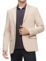 Calvin Klein Mens Tech Blazer Stone Beige Size 2XL Stretch Two-Button $178 055