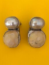 """Ladies earrings Rebecca Collins pearl and Bone """"Bless Our Ears"""""""