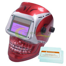 Red Skull Solar Auto Darkening Welding Helmet Arc Tig Mig Welder Mask Hood New