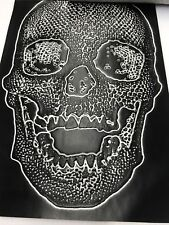 Vinyl Fabric Skull Design Black Upholstery Textured-faux Leather by The Yard