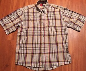 Vtg Raider Men's Button Front Shirt Size medium Plaid Short Sleeve Retro
