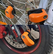 Orange 6mm Security Motorcycle key And Battery Wheel Lock Safety Alarm