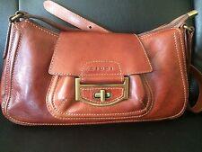 GIUDI  Brown Luxury Leather Shoulder Italian Vintage Handbag SZ Small