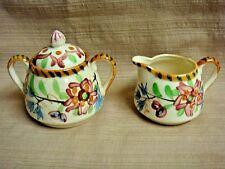 Vintage Ceramic Cream & Sugar w/ Hand Painted Floral Design