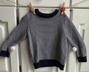 BABY BOYS MINI CLUB NAVY AND WIHITE JUMPER…AGE 18-24 MONTHS