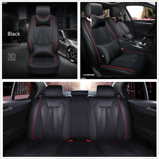 Luxury PU Leather Car 5-Seats Covers Set Black Cushions w/ Pillows Anti-static