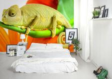 Large paper wallpaper for bedroom 254x183cm wall mural Chameleon green & orange