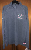 NWT Men's Atlanta Braves Quarter Zip Pullover Long Sleeve Shirt. Sz Large & Blue