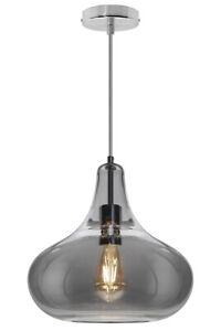 Modern Smoky Grey Glass Ceiling Hanging Pendant Light Teardrop Style Shade M0240