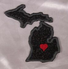 Embroidered Black Glitter Sparkle Michigan MI Love State Patch Iron On Sew USA