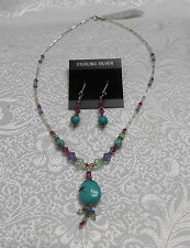 TURQUOISE MADE WITH MULTI-COLOR SWAROVSKI CRYSTALS STERLING SILVER  NECK/EAR SET