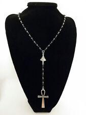 Silver Ankh Rosary Necklace Black Beads Key Of Life Vampire Cross Pendant Goth