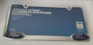 Pilot Chrome Metal License Plate Frame With Ford Logo. New In Original Package