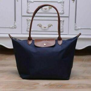 Auth New Longchamp New Le Pliage Nylon Tote Handbag Navy Blue Large