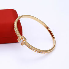 """9ct 9k Yellow """"Gold Filled"""" Ladies White Stones Openable Bangle Bracelet. 57 mm"""