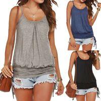 Womens Sleeveless Casual Solid Tank Spaghetti Strap Vest Shirt Blouse Fold Top