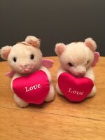 Antique VINTAGE Valentines BEARS Jointed Love Bear Cupid Ornaments Set Lot of 2~