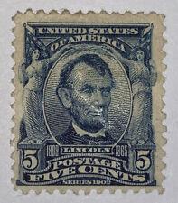 Travelstamps: 1902-03 US Stamps Scott # 304 Lincoln mint OG H 5 Cent