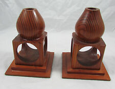 Pair Vintage Mid Century Modern Hand Carved Wood Tapered Candleholder Set