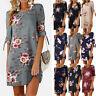 Womens Floral Long Tops Blouse Summer Casual Loose Beach Party Mini Shirt Dress