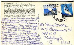1967 Raratonga Cook Islands Cover Love White Tern Bird & Bonito Tuna Fish Stamps