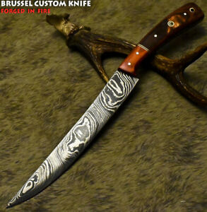 Brussel Custom Handmade Damascus Steel Hard Wood Hunting Chef Knife