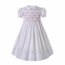 UK White Girls Smocked Dress Embroidery Wedding Party Prom Lantern Sleeve Summer