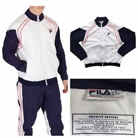 FILA Vaughn Archive Revival Zip Piped Track Jacket White Size XL NEW RRP £60