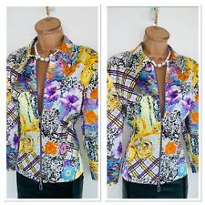 Joseph Ribkoff Floral Satin Embellished Zipped Jacket Uk Size 16